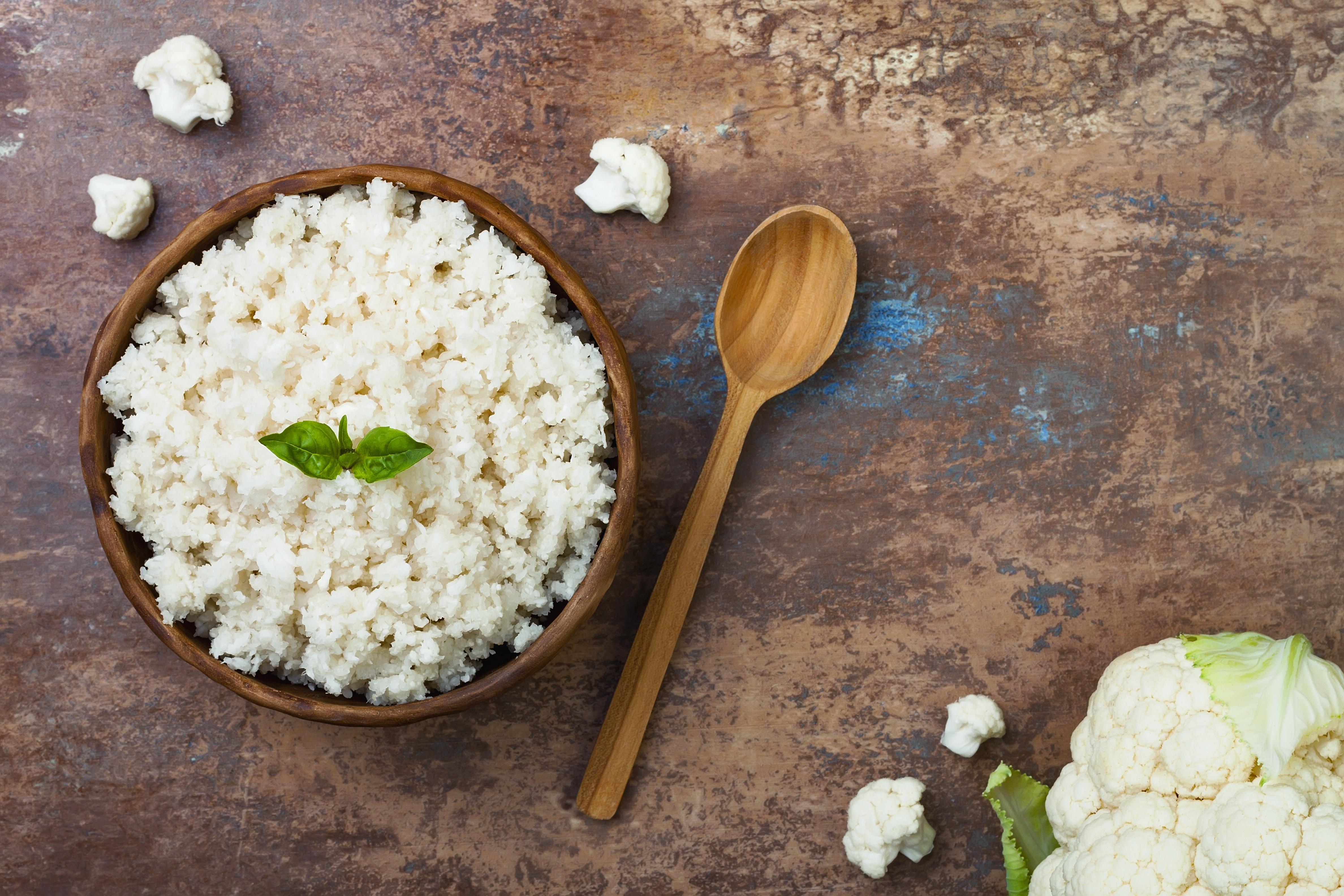 Cauliflower rice in a bowl. T
